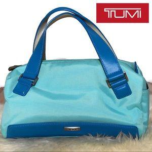 Tumi Aqua Nylon Leather Accessory Make-Up Bag Blue